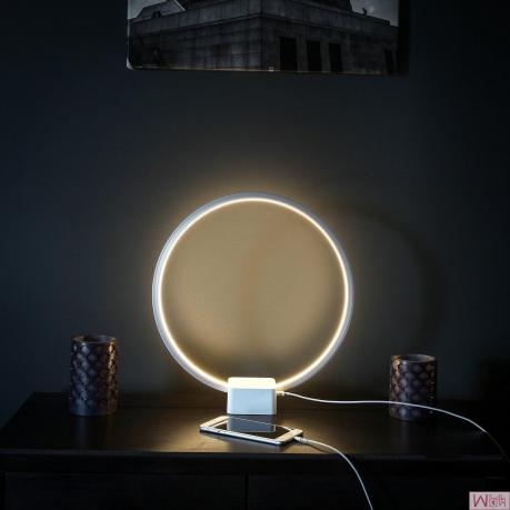 BT圆形可调亮度LED USB多功能台式台�...