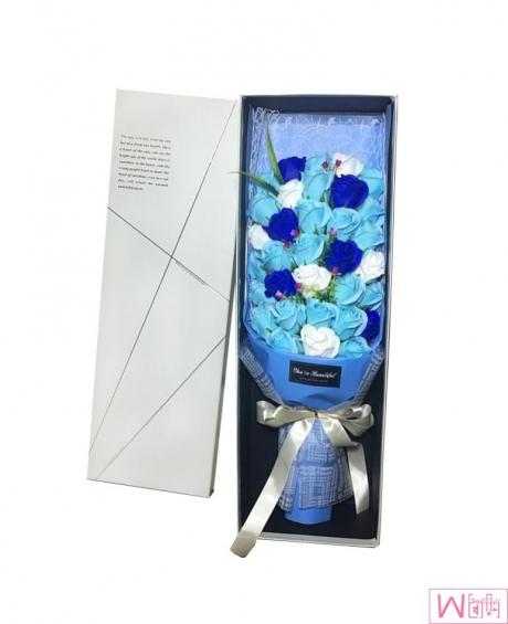 33朵渐变蓝色妖姬香皂永生花礼盒