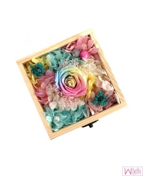 多彩玫瑰永生花木盒礼盒 - 三色
