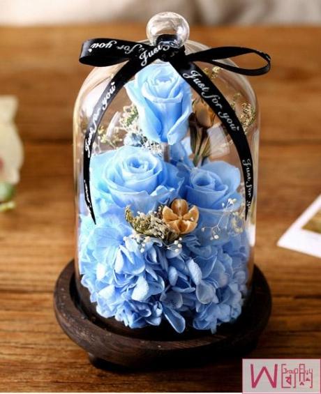 淡蓝色玫瑰永生花玻璃罩礼盒