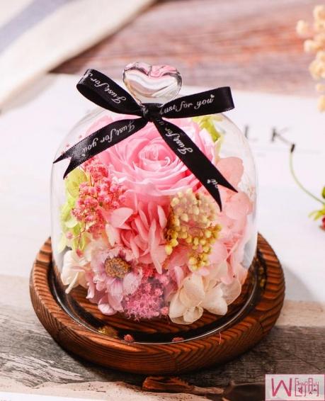 怦然心动粉色玫瑰永生花玻璃罩礼盒