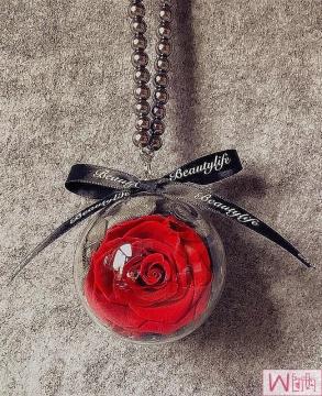红色玫瑰永生花汽车挂件,送女友最佳选择,永不枯萎的恋爱,包邮