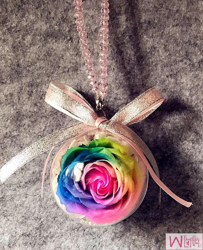 彩虹玫瑰永生花汽车挂件,送女友最佳选择,永不枯萎的恋爱,包邮