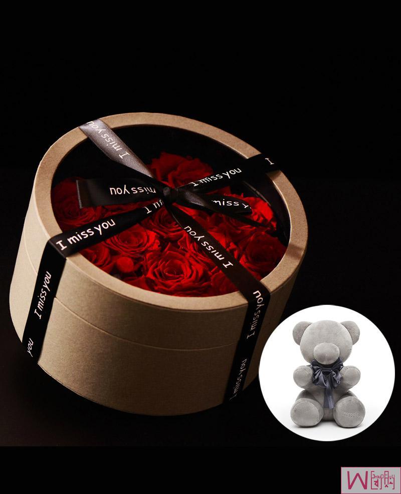 臻爱礼盒13朵红色玫瑰永生花礼盒,送礼最佳选择,永不枯萎的心意