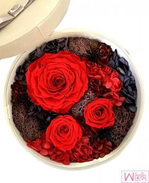 红色玫瑰永生花秘密花园圆木盒礼盒,送礼最佳选择,永不枯萎的心意,洛杉矶自取