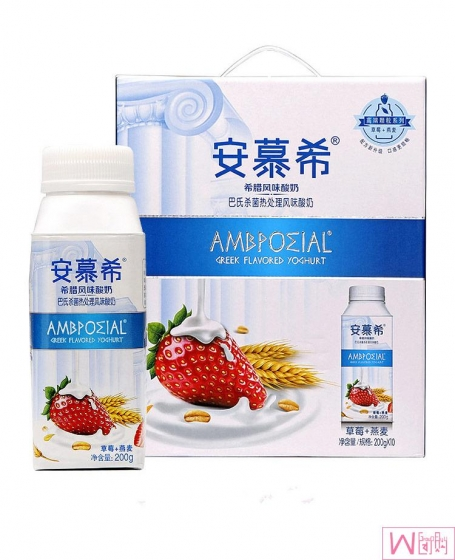 Yi Li An Mu Xi Ambpoeial Greek Flavered Oat Yogurt - 1 bottle, 伊利 安慕希草莓燕麦风味酸奶,发酵乳早餐酸奶