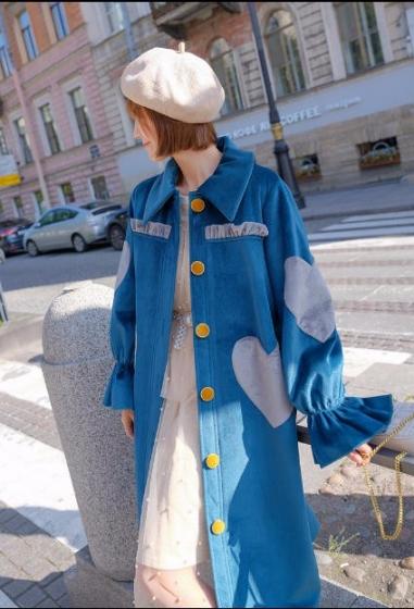 New Fashion Kookastyle Original vintage gold velvet jacket, 古拉良品kookastyle原创复古金丝绒外套中长款喇叭袖加厚加绒大衣