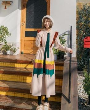 New Gula original color matching waist slim dress