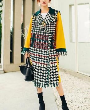 2019 winter fashion new fringed edging plaid coat
