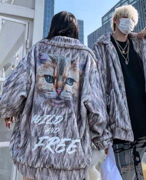 Winter Fashion Cat Printing Fur Jacket Coat