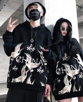 Fashion crane embroidery hoodie street fashion hiphop long-sleeved sweats