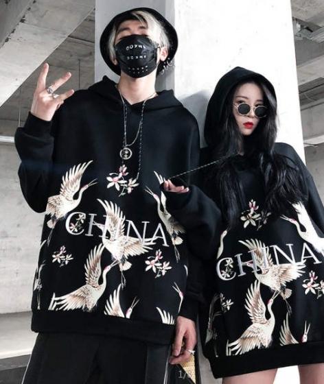 Fashion crane embroidery hoodie street fashion hiphop long-sleeved sweats, INS超火情侣男女卫衣外套