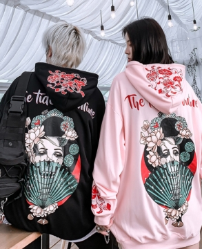Japan Singer print personalized embroidery street style oversize hoodie