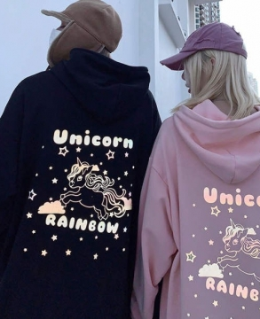 New Fashion 3M reflective rainbow unicorn hoodie sweater