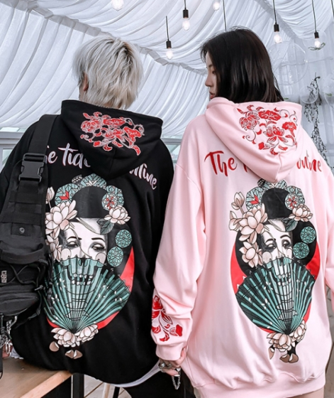Japan Singer print personalized embroidery street style oversize hoodie, 连帽宽松国潮情侣外套男女款