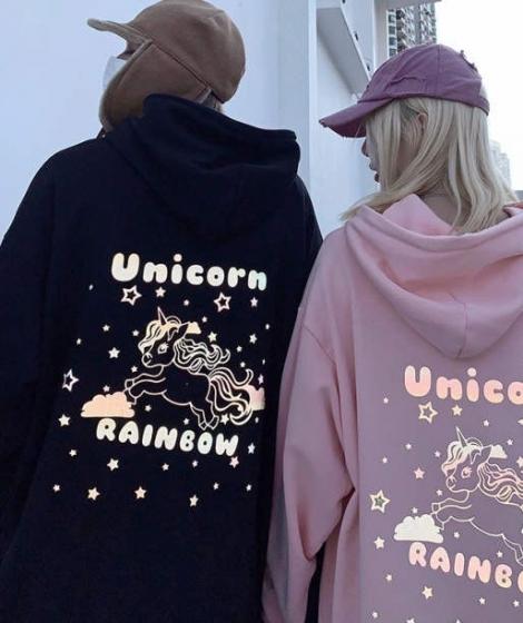 New Fashion 3M reflective rainbow unicorn hoodie sweater, oversize宽松男女情侣加绒外套