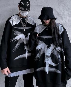Fashion dark style angel wings print sweater sweats