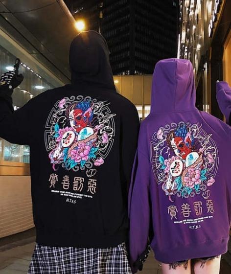 Fashion Chinese style letter printing hooded sweater hoodie, 男女款套头情侣学生ins潮流宽松BF连帽卫衣