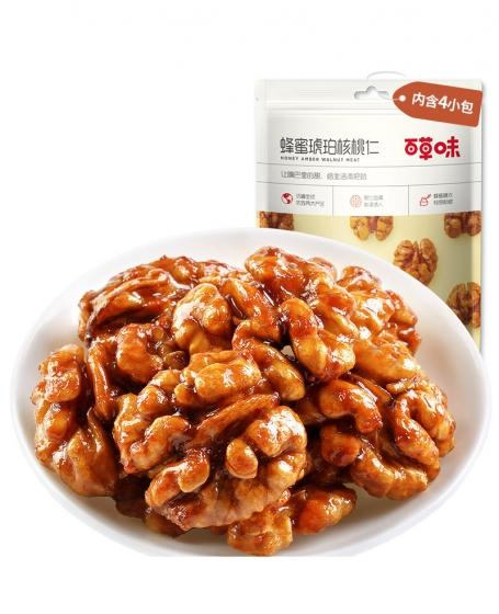 Bai Cao Wei - Honey Amber Walnut 168g, 百草味-琥珀核桃仁168g 坚果零食山核桃小包装纸皮核桃肉特产