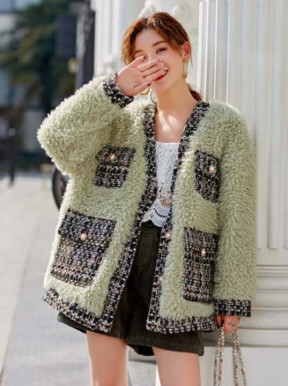 Original retro green lamb wool grain velvet short coat, 加厚宽松仿皮草大衣