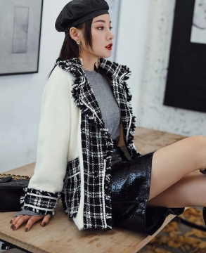 Fashion tweed suit collar fringed plaid stitching mink sweater