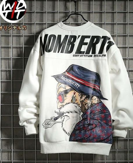 handsome print hip hop sweater, Wdtti冬季日系潮牌宽松圆领加绒长袖卫衣