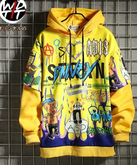 Cartoon messy letter printing hoodie, Wdtti街头嘻哈潮牌宽松加绒连帽卫衣