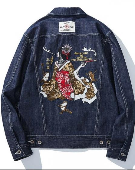 Third generation of tattoo swordswoman, flower queen, Yokosuka embroidered denim jacket, 夹克外套日系男款潮牌