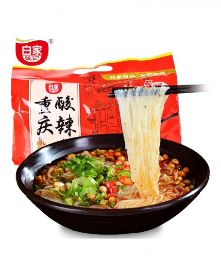 Authentic Baijia Chenji Hot and Sour Noodles 1 Pack/ 5bags 425g, 正宗白家陈记酸辣粉袋装速食重庆泡面酸辣味粉丝方便面,包邮