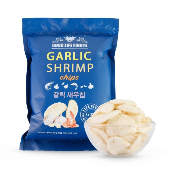 GOOD LIFE FINUTE Shrimp Chips Garlic Flavor 240g, GOOD LIFE FINUTE 趣莱福 韩国进口 蒜味虾片 240g大包,包邮