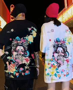 Harajuku style Japanese singers back printing summer couple T-shirt