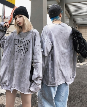 National tide retro tie-dye round neck  hip-hop couple sweater