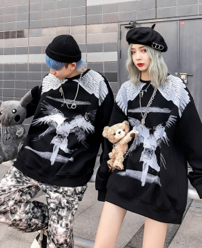 Dark Wings Couples Fall/Winter Round Neck Sweatshirt