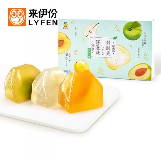 Lyfen Japanese paper bag jelly gift box 280g, 来伊份日式纸袋果冻礼盒280g 台湾风味大颗果肉果冻休闲零食小吃