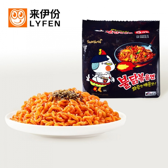 SAMYANG Korean Hot Chicken Ramen Stew Type 1 big bag/145g*5 counts, 三养火鸡面5袋装韩国进口零食方便面泡面干拌面辣鸡面素食食品