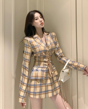 Suit, coat, women's niche, slim waist style suit, autumn 2021 with waist cover