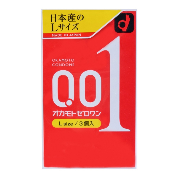 日本OKAMOTO冈本001超薄避孕套0.01极薄安全套 3个入 L size, 更薄更坚韧。2件包邮