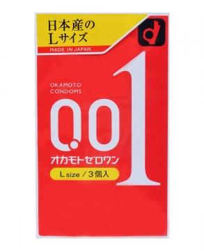 日本OKAMOTO冈本001超薄避孕套0.01极薄安全套 3个入 L size