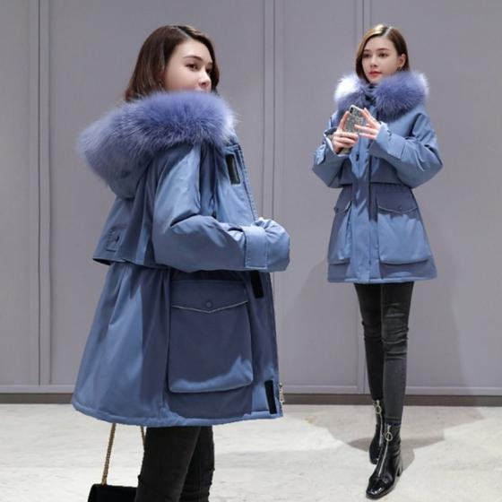 Xiaoxiangfeng women's padded jacket temperament short-aged tooling Parker jacket, 小香风奶蓝色棉服2020年新款女气质短款减龄工装派克加厚棉袄外套