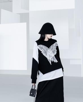 Original national tide fake two-piece angel wings applique women's sweater