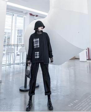 High street design sense stitching plaid top turtleneck round neck sweater women